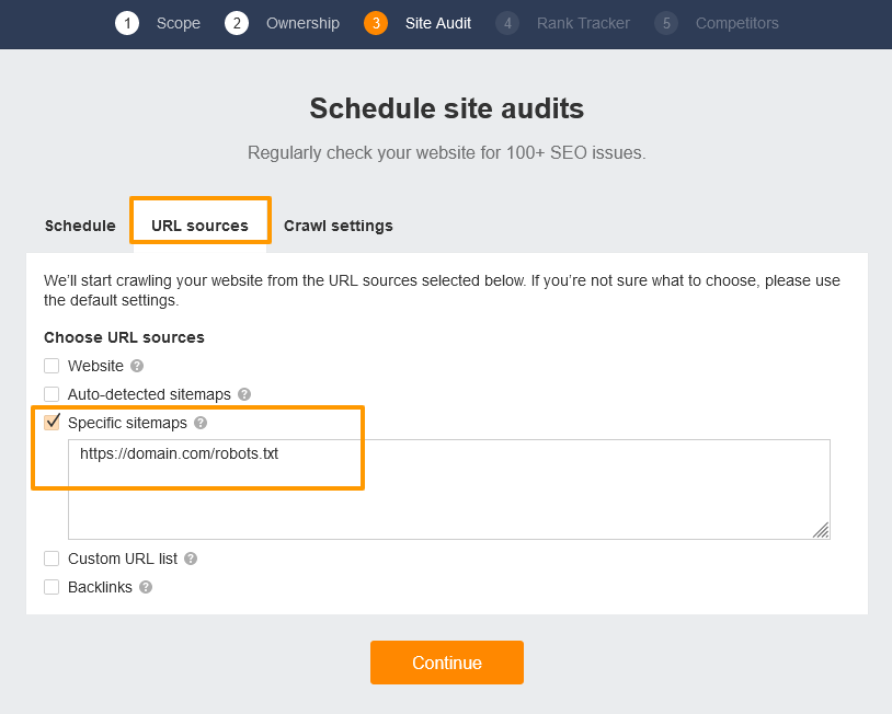 Check only the Specific sitemaps option, enter sitemap url.
